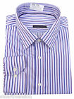 Ex M&S Men's Lilac Pure Cotton Twin Bold Striped Long sleeve Shirt Sizes 15-15.5