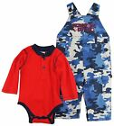 Dog Sport Baby Boys Solid Long Sleeve Bodysuit Camo Overall 2Pc Pant Set