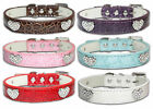 Dog Collar Diamante Puppy Pet For Small Medium Large PU Leather Heart Collor Boy