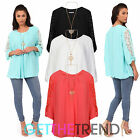 Womens Bell Bottom Lace Tunic Top Ladies Chiffon Summer Kaftan Style Loose Top