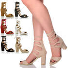 WOMENS LADIES HIGH BLOCK HEEL GHILLIE CAGED LACE UP PEEP TOE SHOES SANDALS SIZE