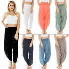 New Womens Italian Elasticated Ali Baba Hareem Side Split Trousers Size 8 12 14