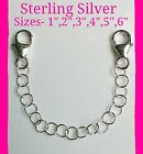 Solid Sterling Silver 3.5mm Round Link Safety Chain/Extend For Necklace/Bracelet