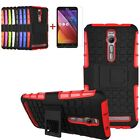 Hybrid Hard Soft Rubber Phone Case Cover/Stand+Tempered Glass For ASUS ZenFone 2