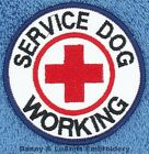 SERVICE DOG WORKING RED CROSS PATCH 3 IN ROUND Danny & LuAnns Embroidery