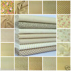 favourite Beige florals spots & stripes 100% cotton fabric & FQ BUNDLE FREE P&P