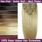 Premium THICK Clip in Remy Human Hair Extensions Double Weft Full Head Party
