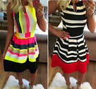 Sexy Women Sleeveless Retro Swing Joma Skater Skirt Neon Stripe Dress Skirt New