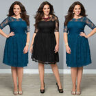 Plus Size Sexy Womens Vintage Lace Pleated Rockabilly Party Evening Formal Dress