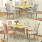 Rectangular Top Glass Stand Colorful Fabric Parson Chair Oak Base 5PC Dining Set