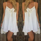 Sexy Women Sleeveless Chiffon Lace Summer Beach Short Mini Dress Sundress White