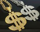 Great Hip Hop RAPPER Iced Out DOLLAR SIGN Crystal Pendant Necklace 32'' Free Sp