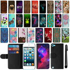 For Apple iPod Touch 5 5th 6 6th Gen Flip Wallet Leather POUCH Case Cover + Pen