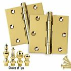 Set of 2 Door Hinges 3.5 x 3.5 Extruded Solid Brass Ball Bearing Polished Brass