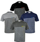 Mens Short Sleeve Striped Contrast T shirt Top Casual Cotton