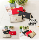 Womens Genuine leather Cubic rivet lock trifold long wallet Gold, Black, Red