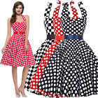 Plus Size M L XL-3XL Vintage Style 50s Retro Polka Dot Swing Evening Party Dress