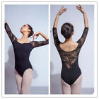 Women Girls Kids Cap Sleeve Princess Seam Leotard Dance Ballet Yoga Cotton Black