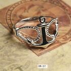 Solid Sterling Silver Nautical Sailor's Rope and Anchor Ladies Fashion Ring