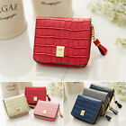 Women's Genuine leather zip-around pocket small size mini wallet with tassel