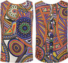 Womens Button Back Top Ladies Aztec Print Sleeveless Round Neck Pleated Vest