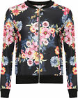Womens Floral Print Bomber Jacket Ladies Plain Long Sleeve Zip Stretch 8-14