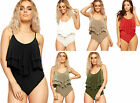 Womens Peplum Layered Bodysuit Top Ladies Strappy Plain Frill Stretch Leotard
