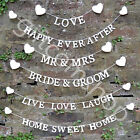 White Heart Mr & Mrs, Bride & Groom, Happy Ever After, Love, Home Bunting Banner
