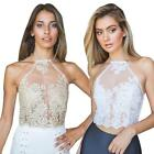 Sexy Women Sleeveless Backless Embroidered Pierced Lace Gauze Vest Halter Shirt