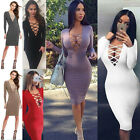 Sexy Women Long Sleeves Lace-Up Bandage Bodycon Evening Party Cocktail Dress
