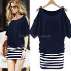 Women Off Shoulder Striped Casual Batwing Sleeve Mini Dress Long Tops Plus Size