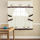 """Embroidered Cuppa Joe 5 Piece Kitchen Curtain Cottage Set - 36"""" or 24"""""""