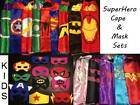 Kids Adult SuperHero Satin Cape Felt Mask Costume Fancy Dress Up Play Party FUN