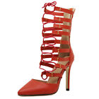 Pointy Toe Red Black Gladiator Cut Out High Heel Women Shoes US8.5 Calf Boots
