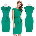 WOMENS VINTAGE 1950'S PINUP RETRO PENCIL DRESS WIGGLE PARTY SIZE 4-18 HOUSEWIFE