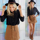 A Line Skirt Women Faux Suede High Waist Flared Pleated Short Mini Skirt New DYN