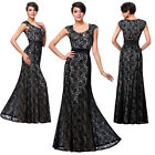 Women Long Lace Mother of the bride Black Maxi Dress Summer Formal Evening Gown