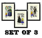 Alice in Wonderland Doctor Who Antique Dictionary Art Print Picture set of three