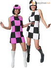 Ladies 1960s Party Girl Costume Adults Swinging 60s 70s Retro Fancy Dress Outfit
