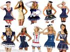 Ladies Adult Sailor Fancy Dress Costume Party Outfit Nautical Navy Blue White
