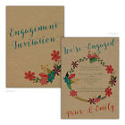 Personalised kraft engagement party invitations FLORAL GARLAND FREE ENVELOPES &