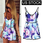 Women Club Summer Zipper V-Neck Floral Slim Party Playsuits Jumpsuits Rompers