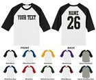 Custom Name & Number Personalized Youth Raglan Baseball T-shirt, STRAIGHT TEXT