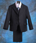 5 Pcs Set Formal Suit Tux Outfit Wedding Party Pinstripe Pageboy Size 2T-7 #005B