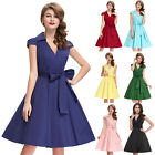 New Short 50/60s Vintage Style Cap Sleeve Swing Housewife Evening Party Dresses