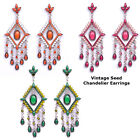 Square Drip Fashion Design Vintage Seed beads Crystal Chandelier Dangle Earrings