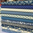 12 piece Victorian blue 100% cotton fabric bundle 25cm x 25cm & FQ bundle