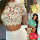 Women Casual Blouse Sexy Lace Floral Hollow Out Short Sleeve Crop Tops T-Shirt