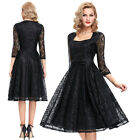 Ladies Black Lace Vintage Short 3/4 Sleeve Dress Prom Formal Ball COCKTAIL Party