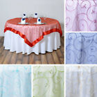 """10 Embroidered Organza 85x85"""" SQUARE Large Table OVERLAYS..."""